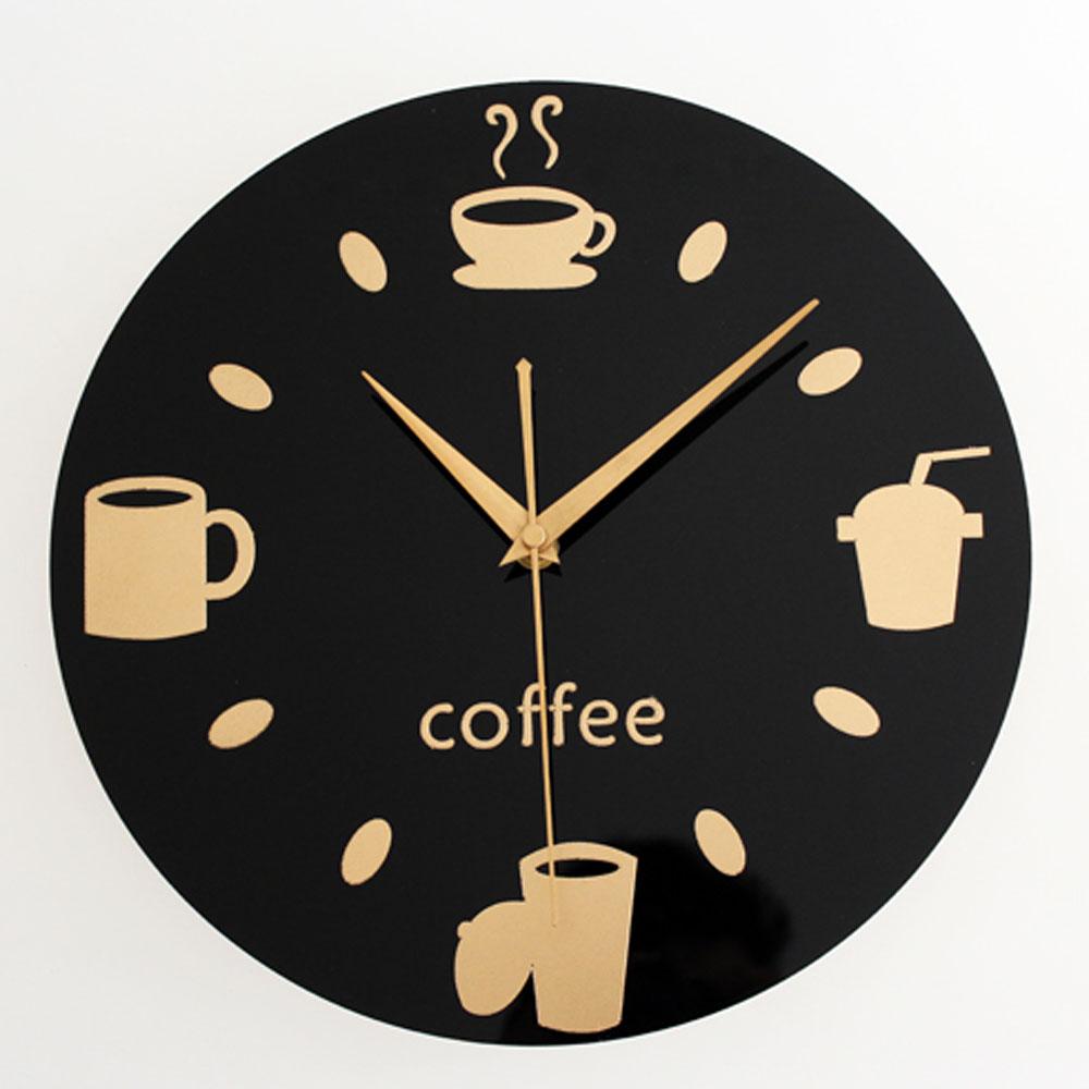 Kitchen Restaurant Leisure Fashion Design Wall Clock Black Round Coffee Cup Bean Tableware Creative Design Wall Clock(China (Mainland))