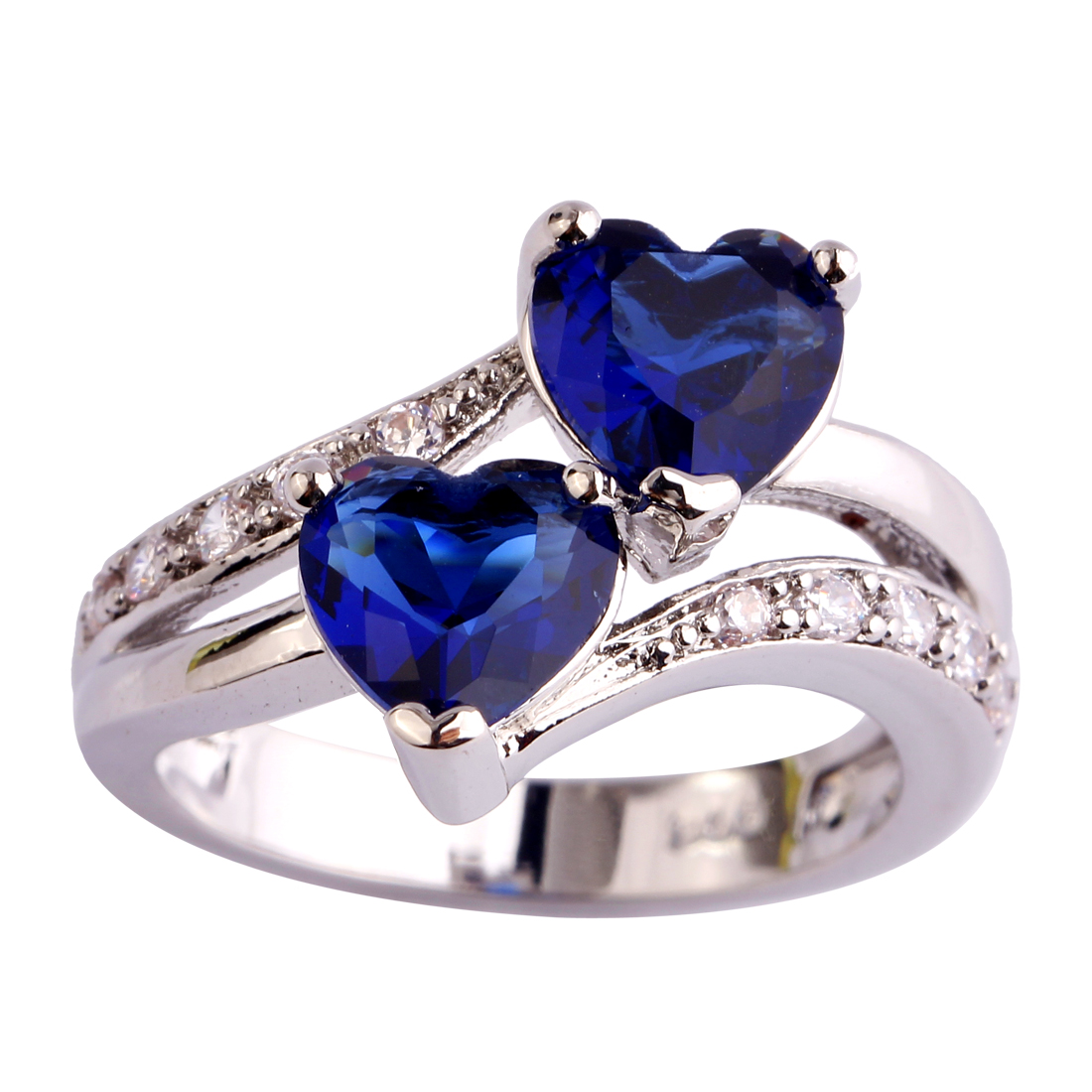 AAA CZ Fashion Lab Blue Sapphire Quartz 18K White Gold Plated Silver Ring Gems Jewelry Size 6 7 8 9 10 11 12 Free Shipping Gif(China (Mainland))
