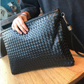 Braided leather envelope bag man leisure soft leather clutch tide Korean female large capacity portable file