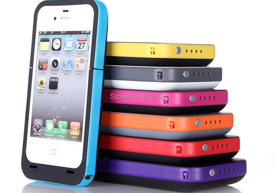 2014 High Capacity 2000mAh Rechargeable Backup Power Bank External li-Battery Charger cover Case for iPhone 4S 4 Cellphone(China (Mainland))