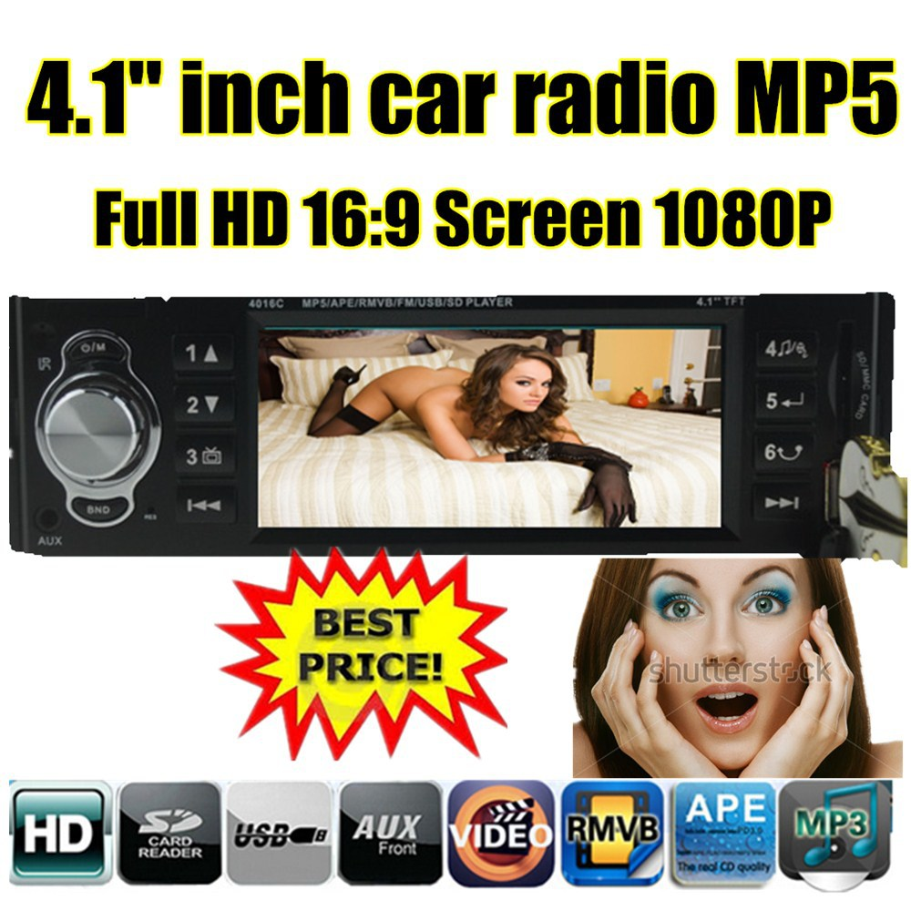 new 4.1'' inch TFT HD screen car radio player USB SD aux in 1080P movie radio w/remote control 1 din car audio stereo mp4 mp5(China (Mainland))