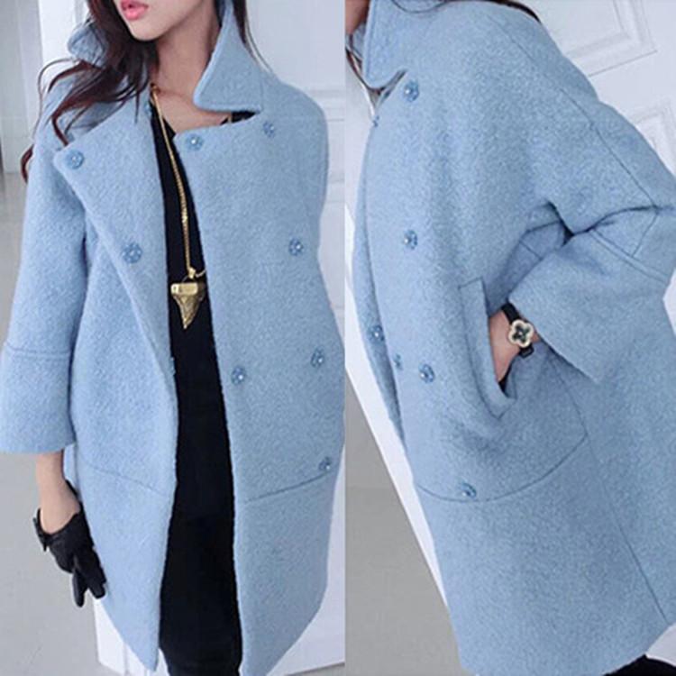 Europe style 2014 new autumn winter women wool blends coat loose medium-long women's woolen coats plus size outerwear RY533
