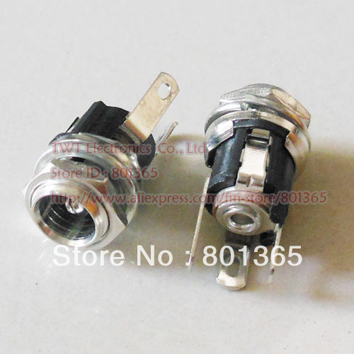 DC Female DC5.5/2.1 Jack Socket Panel-Mount Connector 5.5x 2.1mm ,DC chassis jack , 50pcs ,Free shipping(China (Mainland))