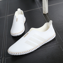Summer white shoes lazy male lacing the trend of breathable shoes pedal genuine leather all-match male shoes(China (Mainland))