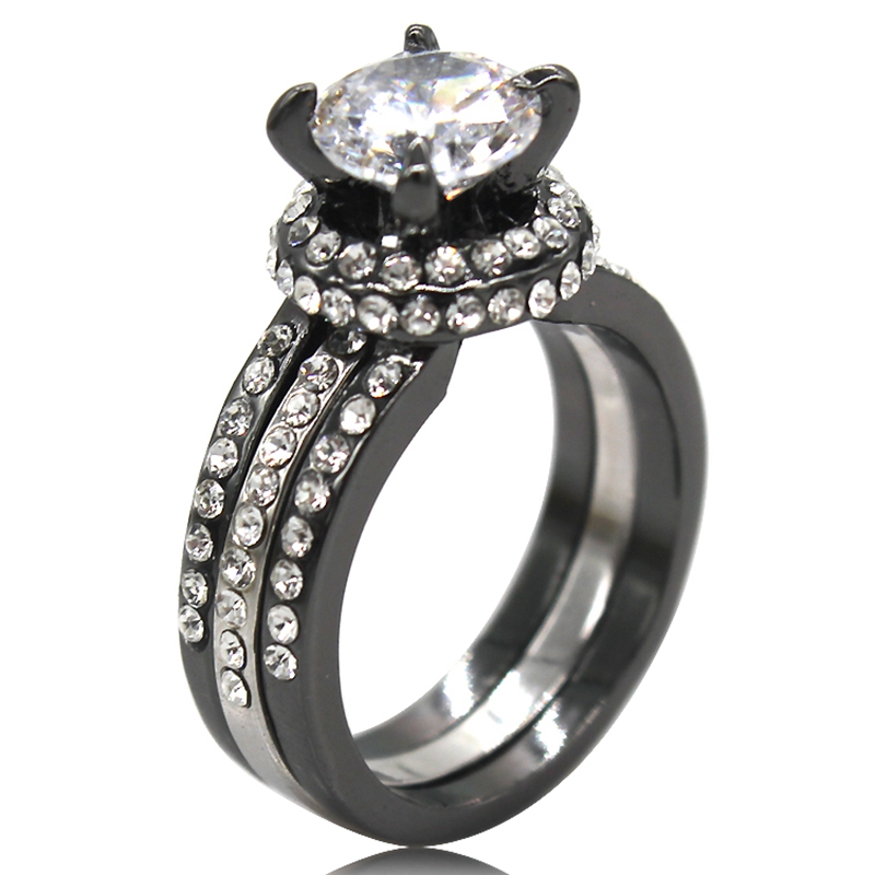 Size 5 11 Black Wedding Engagement Propose Anniversary Christmas Cubic Zircon