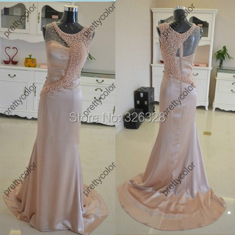 Real Sample Floor Length Evening Dress With Pearls Embellishment Party Long Dresses Event Court Train A Line(China (Mainland))