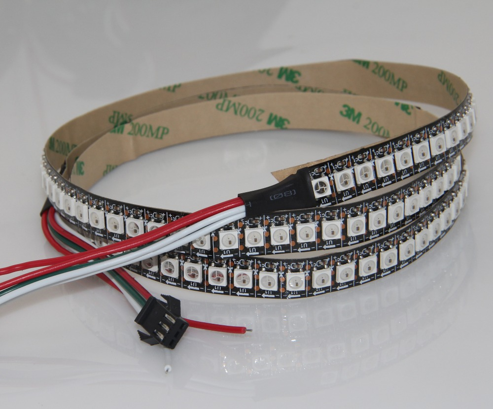 2M White/Black PCB 144Pixel/M WS2812B WS2812 2812 SMD 5050 RGB LED Pixel Strips Light Waterproof IP67 + 10 key RF Controller - Everbright Store store