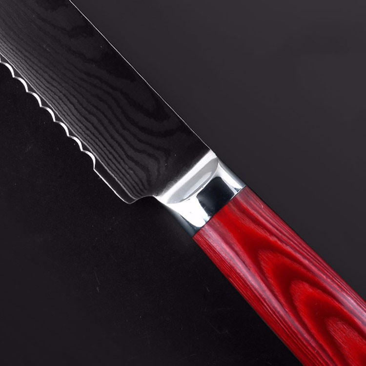 """Buy LD 8"""" inch bread knives Damascus kitchen knife sharp japanese VG10 cake knife cook tool micarta handle free shipping cheap"""