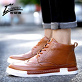 2016 Brand Autumn Winter Men Boots High Top PU Leather Martin Boots Men Lace Up Ankle