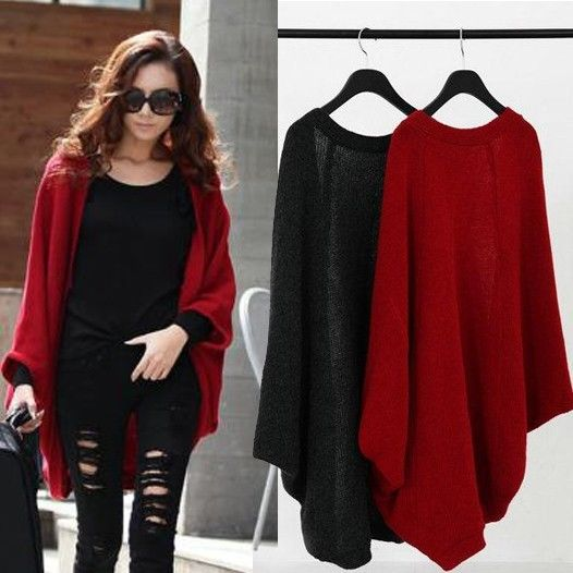 Knit Cardigan Women Sweater new 2016 brand casual batwing sleeve knitwear cardigan sweaters coats outwear jumper gray black red(China (Mainland))
