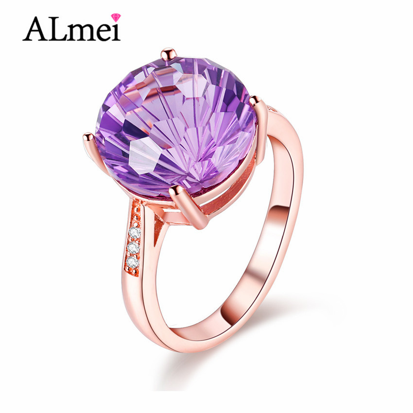 Almei Women 4ct Amethyst Rose Gold Plated Wedding Rings Gemstone 925 Sterling Silver Jewelry Bijoux Femme with Box 40% FJ012(China (Mainland))