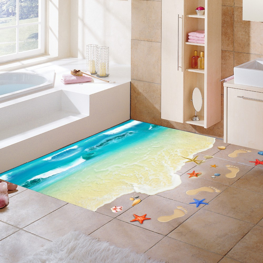 3D Ocean Sand Beach Shell Foot Print Wall Stickers Bathroom Living Room Floor Wall Applique Nursery Kids Room Wallpaper Poster
