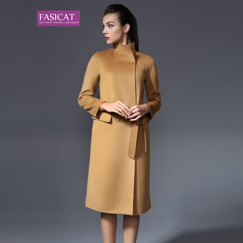 Fasicat High Quality Women Wool Overcoats With Belts Double Breasted Long Sleeve Winter Cashmere Slim Trench Coats 180036Одежда и ак�е��уары<br><br><br>Aliexpress