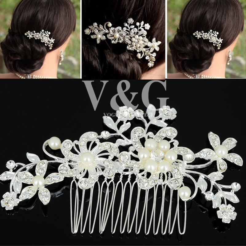 1PC Hot Selling Fashion Bridal Wedding Flower Crystal Rhinestones Pearls Women Hair Clip Comb,Hair Pin Accessories Jewelry(China (Mainland))