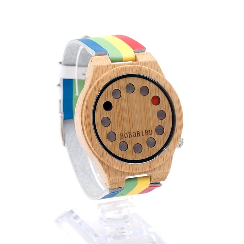 БОБО ПТИЦА Японский miyota 2035 движение наручные часы mutil цвет натуральной кожи полосы бамбука деревянные часы для мужчин и женщин