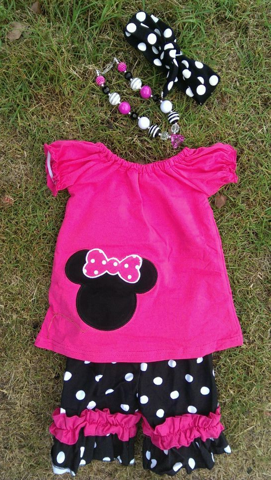 2015 new hot sell baby girl hot pink minnie mouse shorts set outfits with matching necklace and bow set(China (Mainland))