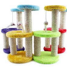 Manufacturers selling crazy cat sisal toys Three layer disc medium cat climbing frame color random (China (Mainland))