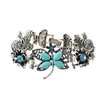 Ретро стиль синий горный хрусталь бабочка античная ну вечеринку шарм браслеты для ...