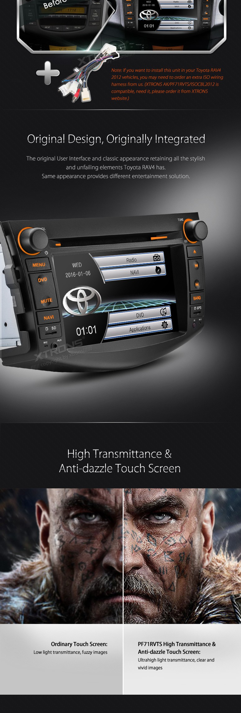 Xtrons 7″ Touch Screen Special Car DVD for Toyota RAV4 2006-2012 with Built-in GPS/Bluetooth/FM/AM/RDS