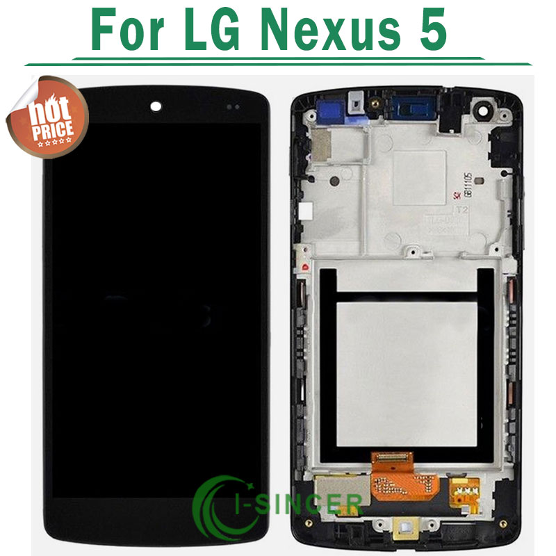 100% Original +Tools LCD Display With Touch Digitizer Screen complete Assembly with frame For LG Nexus 5 D821 Free shipping