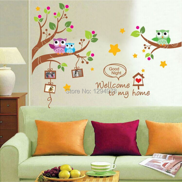 Cartoon cute creative colorful owls tree photo frame diy for Diy tree wall mural