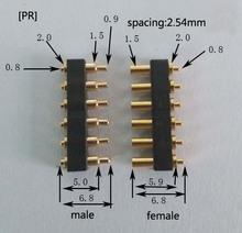 [PR] pogo pin conector Espaciamiento 2.54mm 6pin resistente a altas temperaturas de primavera hombre-mujer conector de alta corriente Envío gratis