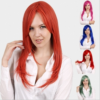 Горячая Середина длинные прямые красный/orange/белый 9 цвета Аниме Косплей парик peluca, Высокое качество японской женщин синтетические волосы плутон