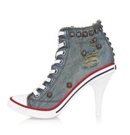 Autumn Women Denim Boots Womens Boot With Heels Rivets High Heel Boots Pumps Ladies Fashion Shoes Lace Denim Shoe Size 8-5.5<br><br>Aliexpress
