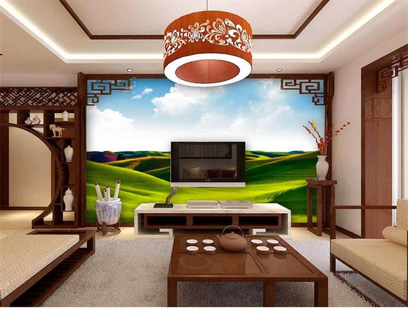 3d murals wallpaper Big green grassland photo custom non-woven Sticker room sofa TV background painting wallpaper for walls 3d(China (Mainland))