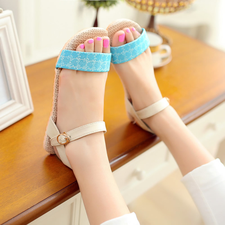 Fashion strap 2015 women's shoes flat heel preppy style female sandals beach - Lebron green's store