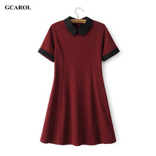 Women New Peter Pan Collar Vintage Dress Stretch Slim Spliced Dress Preppy Style Fit and Flare Dresses Ladies'High Quality Dress(China (Mainland))