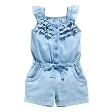 Kids Girls Clothing Rompers Denim Blue Cotton Washed Jeans Sleeveless Bow Jumpsuit 0-5Y L07(China (Mainland))
