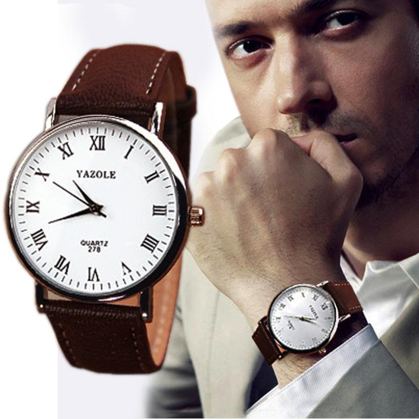 Гаджет  New brand 2015 fashion Luxury Faux Leather Mens Quartz Watch Wristwatches Brown Strap None Часы