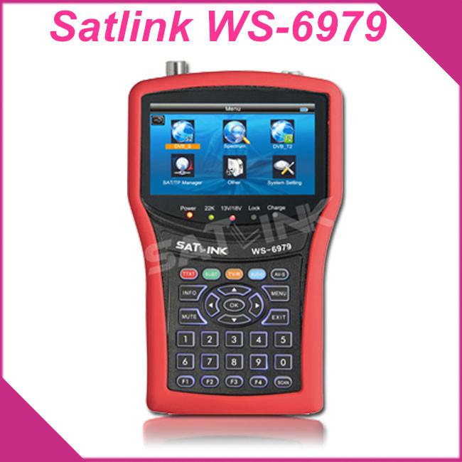 Original Satlink WS6979 DVB-S2 & DVB-T2 Combo 6979 digital satellite TV Receiver finder meter Spectrum analyzer constellatio(China (Mainland))