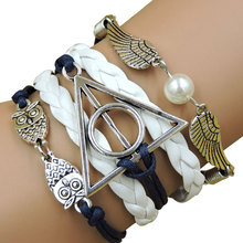 Vintage Harry Potter Owl Skeleton Wings Believe Heart Infinity Love bracelet,Leather Multilayer Braid Charm Bracelets & bangles(China (Mainland))