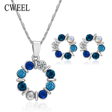 Fashion Colorful Imitated Crystal Beads Jewelry Sets For Women Bridal Wedding Accessories Gold Plated Necklace Stud Earrings Set(China (Mainland))
