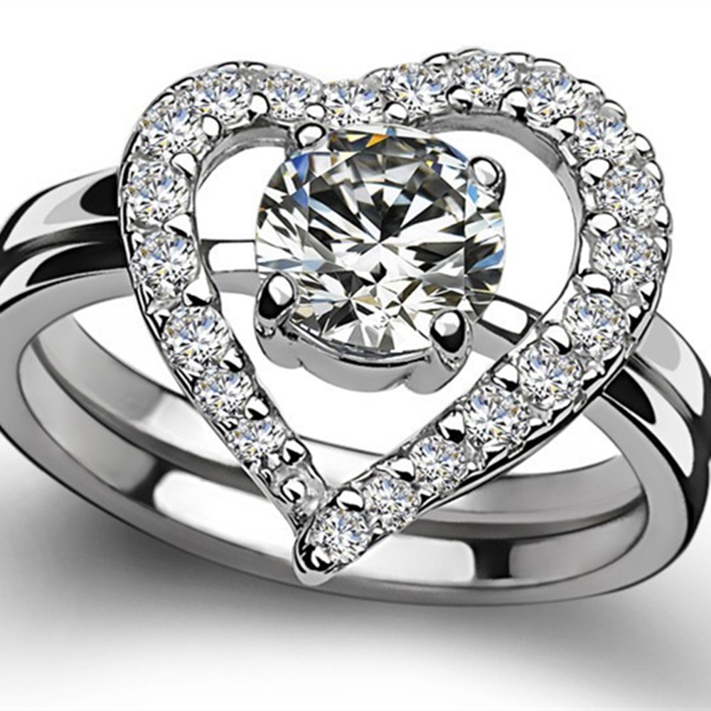 Open Heart Shaped Rings Ct Gold