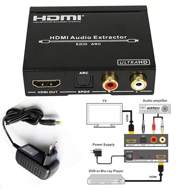 1080P HDMI to HDMI Optical + SPDIF + RCA L/R Extractor Converter Audio Splitter 4Kx2K(China (Mainland))