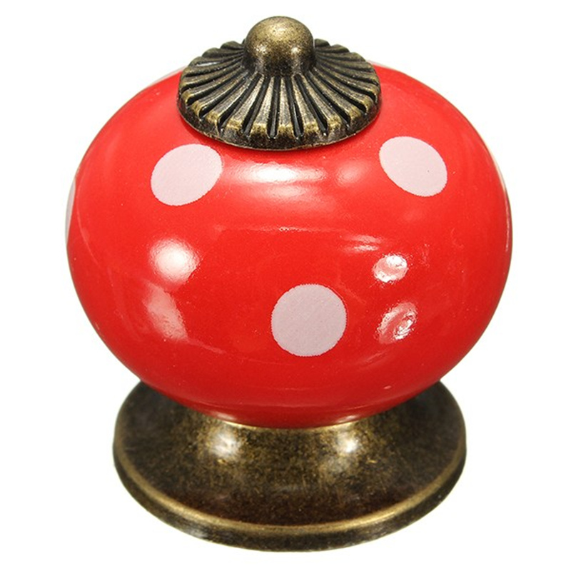 Vintage Dot Round Ceramics Drawer Knob Door Cabinet Cupboard Kitchen Pull Handle Home Furniture Hardware Handles Decoration(China (Mainland))