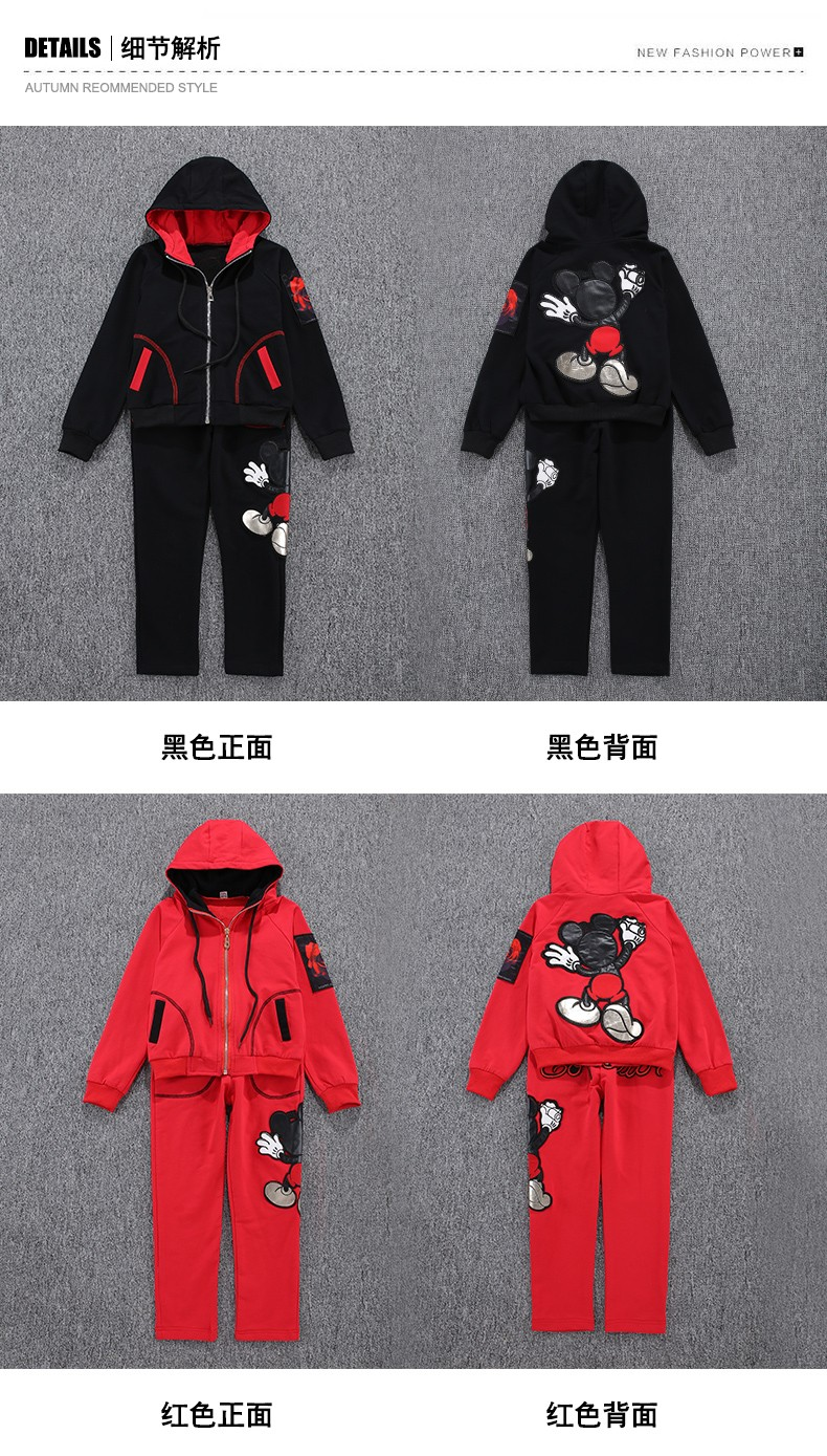 2016 New Arrival Big Girls Mickey Mouse Clothing Set 2pcs Long Sleeve Jacket Pants Suits Kids Cotton Clothes Set 4-14 Years