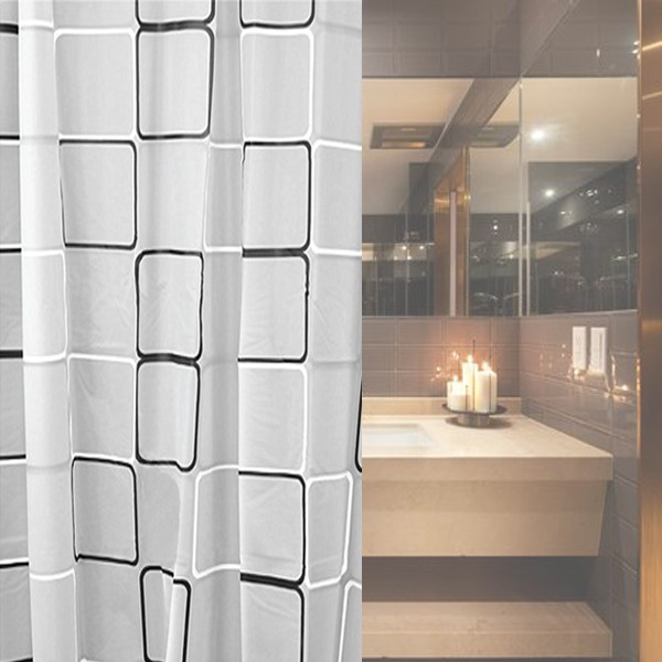 variety sizes New PEVA Shower Curtain With 12 Hooks Black white Grid Print Waterproof Blinds for Bathroom shower curtain Decor(China (Mainland))