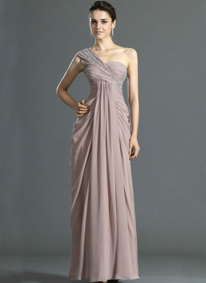 One shoulder chiffon empire evening dresses maternity for Formal long dresses for weddings