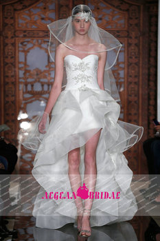 Style MA6628 Sweetheart Pleated Chiffon Wedding Dress Short Front Long Back