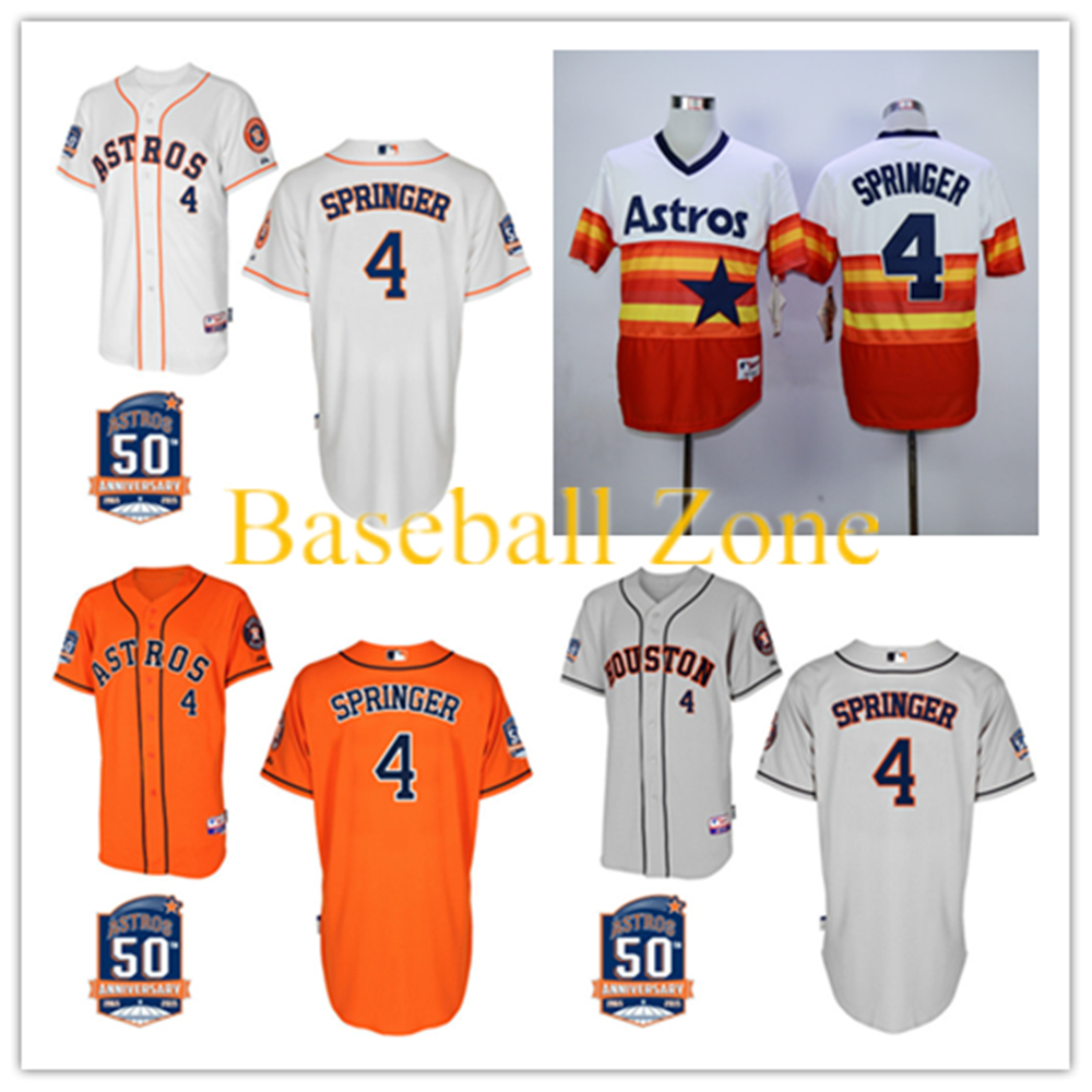 2015 Men Houston Astros  #4 George Springer Baseball Jersey Personalized Embroidery Stitched Shirt Free Shipping Wholesale<br><br>Aliexpress