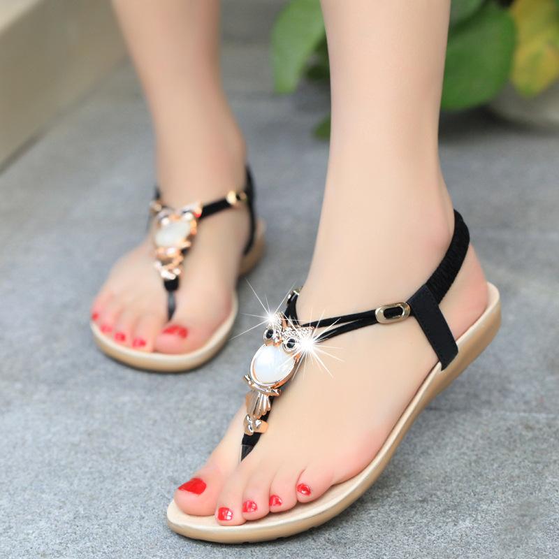 Big Size 35-42 Summer Style Women 2016 Rhinestone Sandals Woman Flat Heel Shoes Owl Sandalias Zapatos Mujer Chaussure Femme