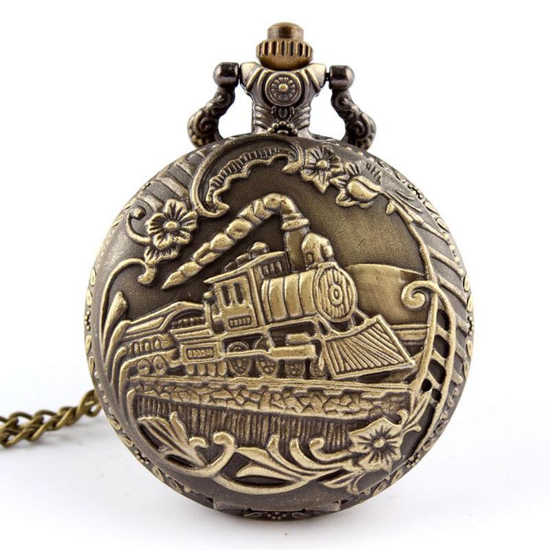 Popular 2017 Unisex Antique Case Pocket Watch Women Vintage Brass Rib Chain Quartz Pocket Watch Train Printed Unique Relogio(China (Mainland))