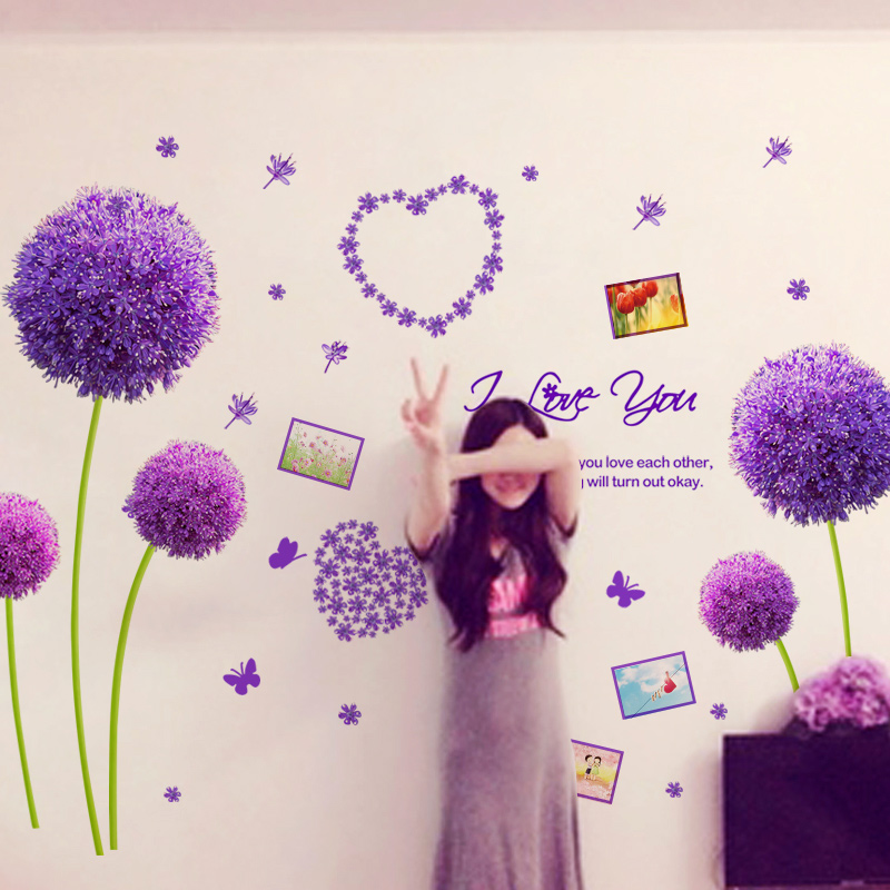Romance tv background wall derlook applique decoration wall stickers purple dancingly(China (Mainland))