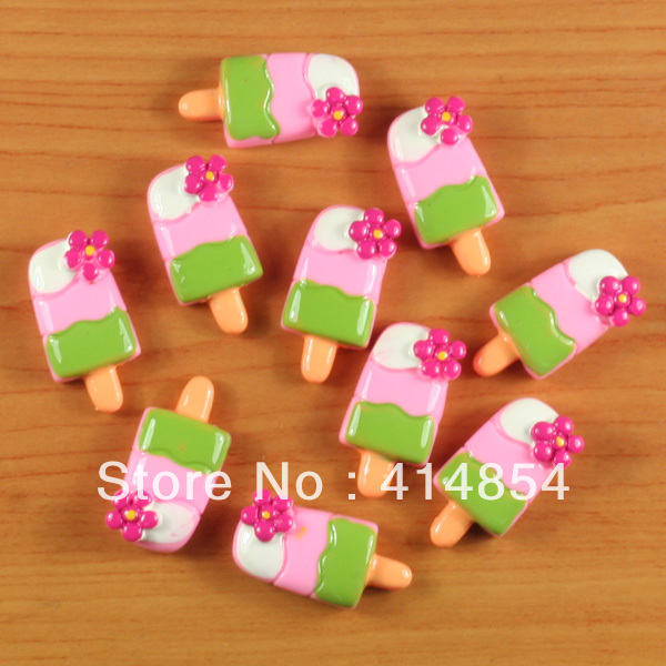 wholesale 50 pcs summer floral popsicle ice cream resin
