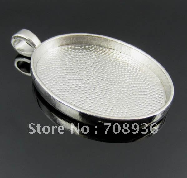 Free Shipping Silver Plated Oval Cameo Frame Settings Pendants 50pcs