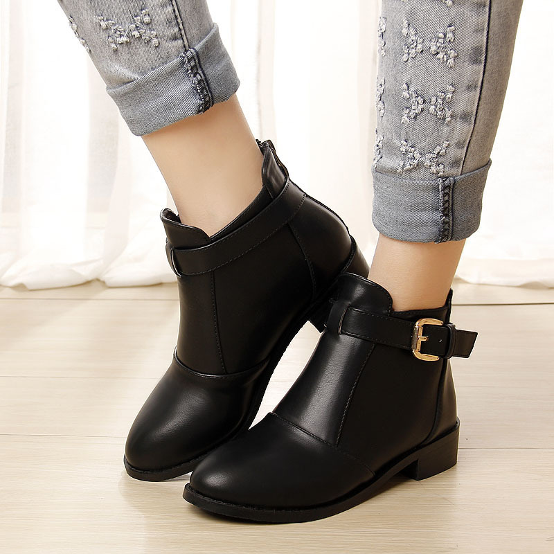 autumn leather boots ankle boots winter snow boots